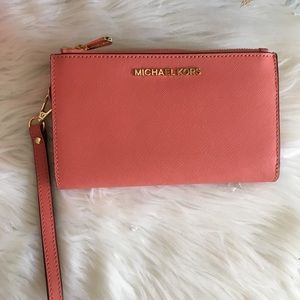 New Michael Kors double zipper phone case wallet
